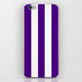 Indigo violet - solid color - white vertical lines pattern iPhone Skin