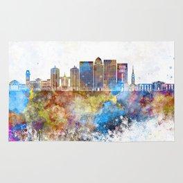 Louisville V2 skyline in watercolor background Rug