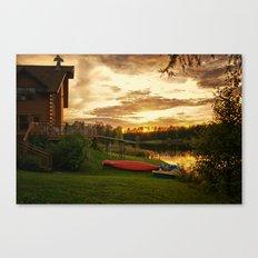 Sunset at Lakeside Lodge Canvas Print