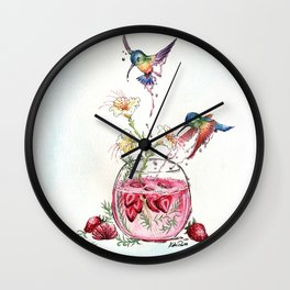 Hummingbird Strawberry Drink Wall Clock