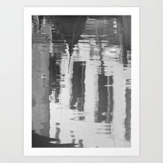 Venice canal in black and white Art Print
