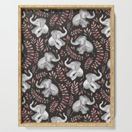 Laughing Baby Elephants - Coral Serving Tray