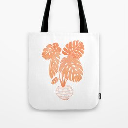 Pink Monstera Plant Tote Bag