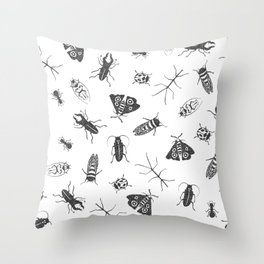 Insects Pattern on White Throw Pillow