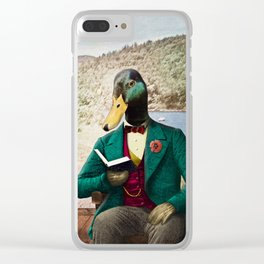 Monsieur Mallard Reading an Improving Book Clear iPhone Case