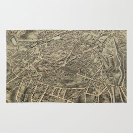 Vintage Pictorial Map of Waterbury CT (1876) Rug