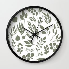 Elegant floral pattern, light green leaf inked silhouettes set, vector isolated illustration Wall Clock
