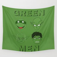 men Wall Tapestries featuring GREEN MEN by CRNLSMATA