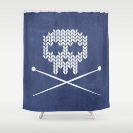 Knitted Skull - White on Navy Blue Shower Curtain
