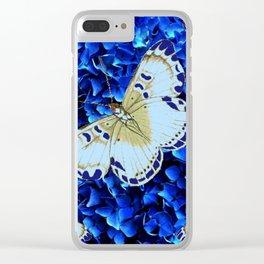 WHITE-PURPLE BUTTERFLIES BLUE MODERN ART Clear iPhone Case