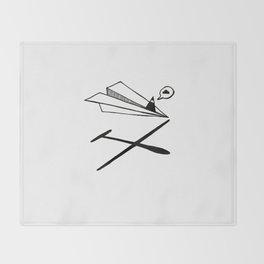 Ninja flies a Paper Plane Throw Blanket