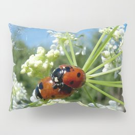 funny ladybug luck at love playing in spring Pillow Sham
