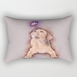 Staffordshire terrier Puppy with Butterfly Rectangular Pillow