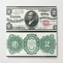 1891 U.S. Federal Reserve Two Dollar William Windom Bank Note Metal Print
