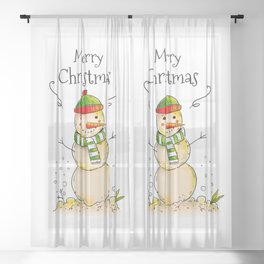 Merry Christmas (Snowman) Sheer Curtain
