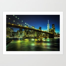 Brooklin Bridge Night skyline New-York City Art Print