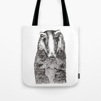 badger Tote Bags featuring Badger by Meredith Mackworth-Praed