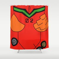 evangelion Shower Curtains featuring Asuka Rebuild Damaged Plugsuit by Bunny Frost