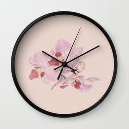 Matte Pink Orchid Flower Wall Clock
