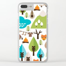 Wild camping trip with fox and wild animals illustration Clear iPhone Case