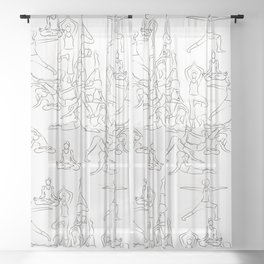 Yoga Asanas black on white Sheer Curtain