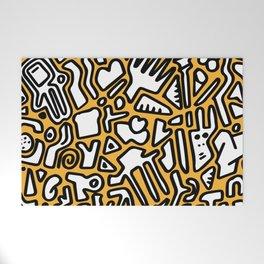 black doodle on orange Welcome Mat