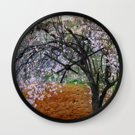 """""""Flowering Almond"""". At Sunset Wall Clock"""