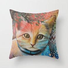 Milo Abstract Cat Art Throw Pillow