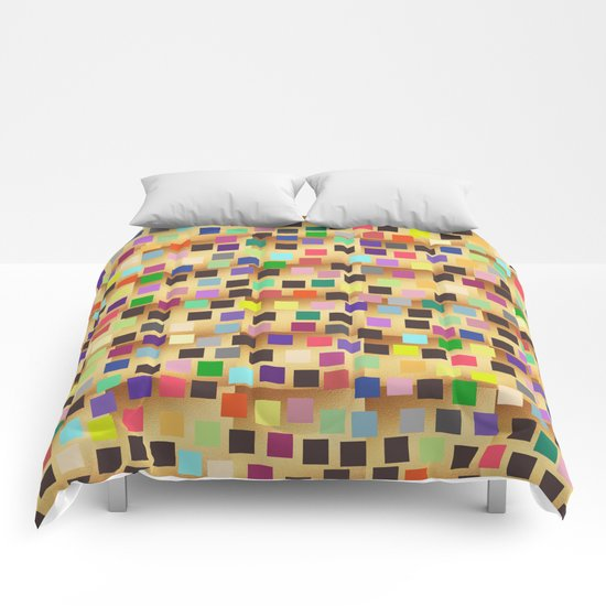 Squares On Gold Comforters