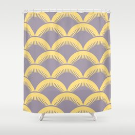 Japanese Fan Pattern Gray and Yellow Shower Curtain