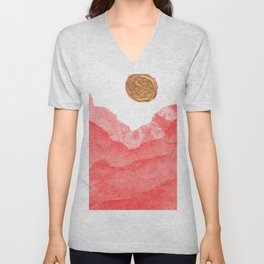 Red watercolor abstract mountains and moon Unisex V-Neck