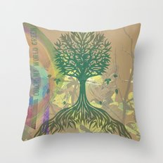 Color My World Green Throw Pillow