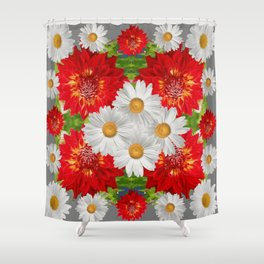 WHITE DAISIES & RED DAHLIAS PATTERN ART Shower Curtain