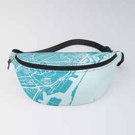 Barcelona Map Spain | Blue & Cyan | More Colors, Review My Collections Fanny Pack