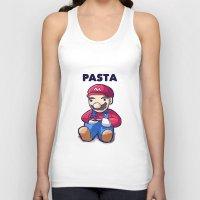pasta Tank Tops featuring Pasta Mario by Joel Hinojosa