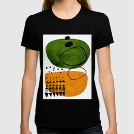 Modern Mid Century Fun Colorful Abstract Minimalist Painting Olive Green Yellow Ochre Buns T-shirt