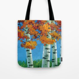 Poplars in autumn Tote Bag