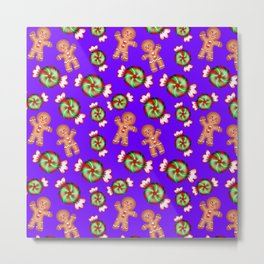 Cute lovely decorative seamless winter Christmas pattern. Happy gingerbread men and sweet candy. Metal Print