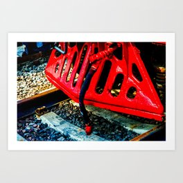 Vintage Steam Engine Locomotive Red Cowcatcher Art Print