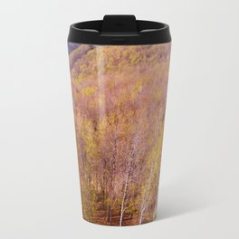 Deciduous beech forest view in spring, forest landscape Travel Mug