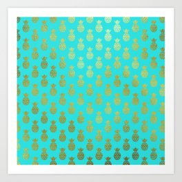 Gold Abstract Pineapples Pattern on Teal Art Print
