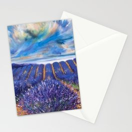 Fields of Lavender landscape painting by Vincent van Gogh Stationery Cards