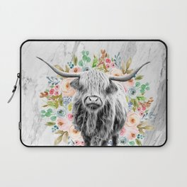 Highland Cow With Flowers on Marble Black and White Laptop Sleeve