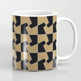 Abstract hexagon periodic tessellation pattern gamboge black Coffee Mug