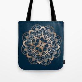 Lotus metal mandala on blue Tote Bag