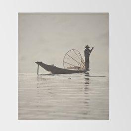 Fisherman at Inle Lake Throw Blanket