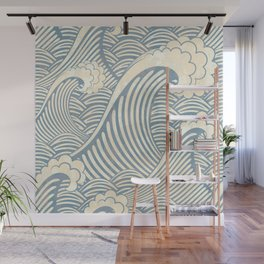 Abstract great waves vintage illustration pattern Wall Mural
