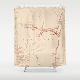Old George Washington New York Campaign Routes Map (1932) Vintage NY Revolutionary War Atlas Shower Curtain