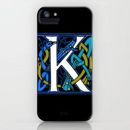 Celtic Peacock Letter K iPhone Case