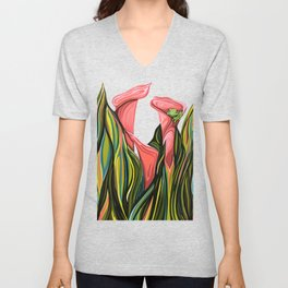 Cala Lillies and the frog Unisex V-Neck